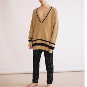 Oversized Collegiate Style V-Neck Sweater